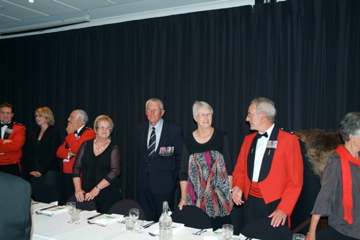 top table left - CO 2/1 RNZIR LtCol Hugh and Melanie McAslan, Bob and Rhonda Upton, Evan and Zilla Torrance and Bill Blair [Binning]