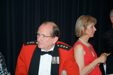 Colonel Baden Ewart and Kathryn Mulcock, Baden was the 2nd speaker at the dining-in [Binning]