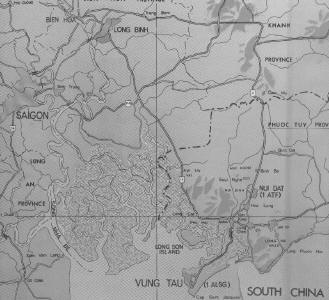 Nui Dat base bottom right, Vung Tau at bottom, Saigon to left - click map to enlarge