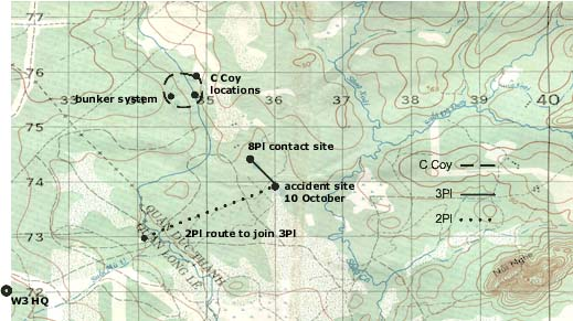 Map of W Coy movements 10 October 1970