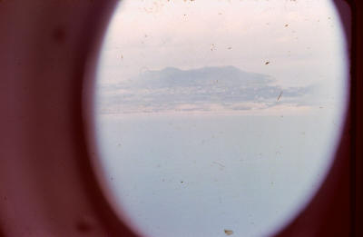 view from window of RNZAF C130 Hercules approaching the SVN coast    [Young]