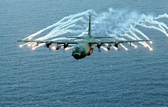 MC130E 'Combat Talon' firing self defence flares [US Air Force]