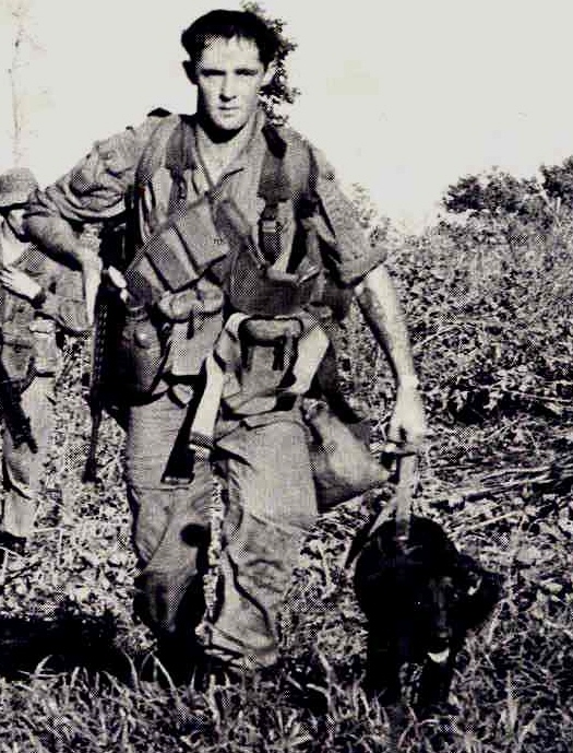 file photo of Pte Ron Johnson 2 RAR with dog MILO [AWM]