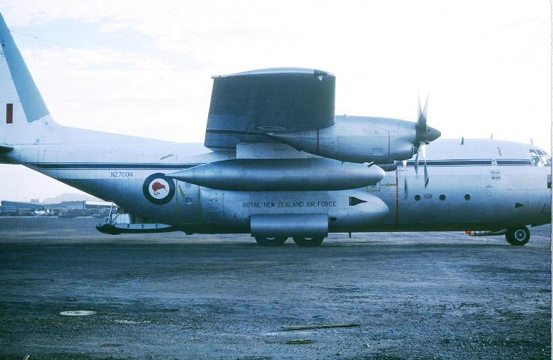10 November 1970 Vung Tau airfield - RNZAF 'freedom bird' on the apron with personal freight on the ramp  [Stock]