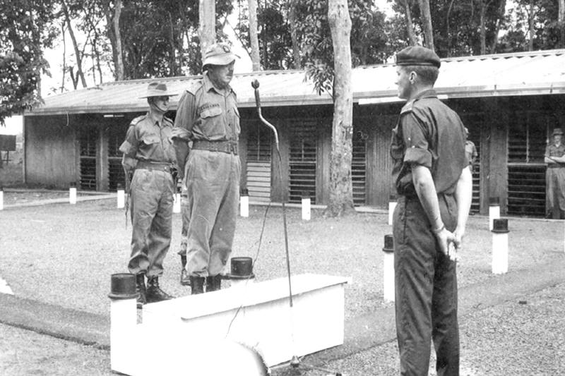 Brigadier Henderson addressing the Company [NZ Army Museum]