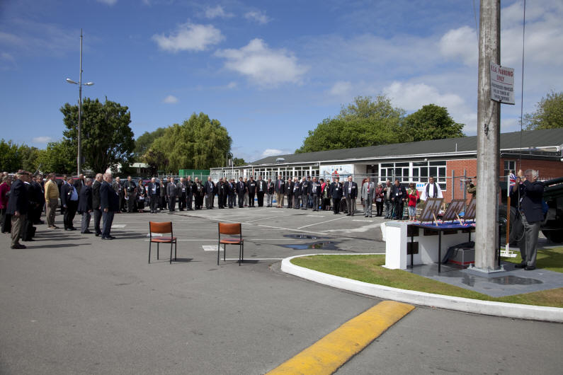 W3 Company paraded for a memorial service to their Fallen  in South Vietnam, and those veterans who had died since their return to New Zealand.  The venue was the RSA rooms in Papanui Christchurch.  Neil Ure is lowering the flag during the minutes silence [Ewart]