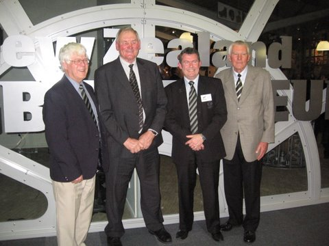 Sir Brian Lochore who opened the new Museum and was captain on the 1970 tour. On the left is Ian Steffert and Grant Smith makes up the foursome - we all went to Wairarapa College.  Ian and Grant are members of the Rugby Museum Committee. [Torrance]