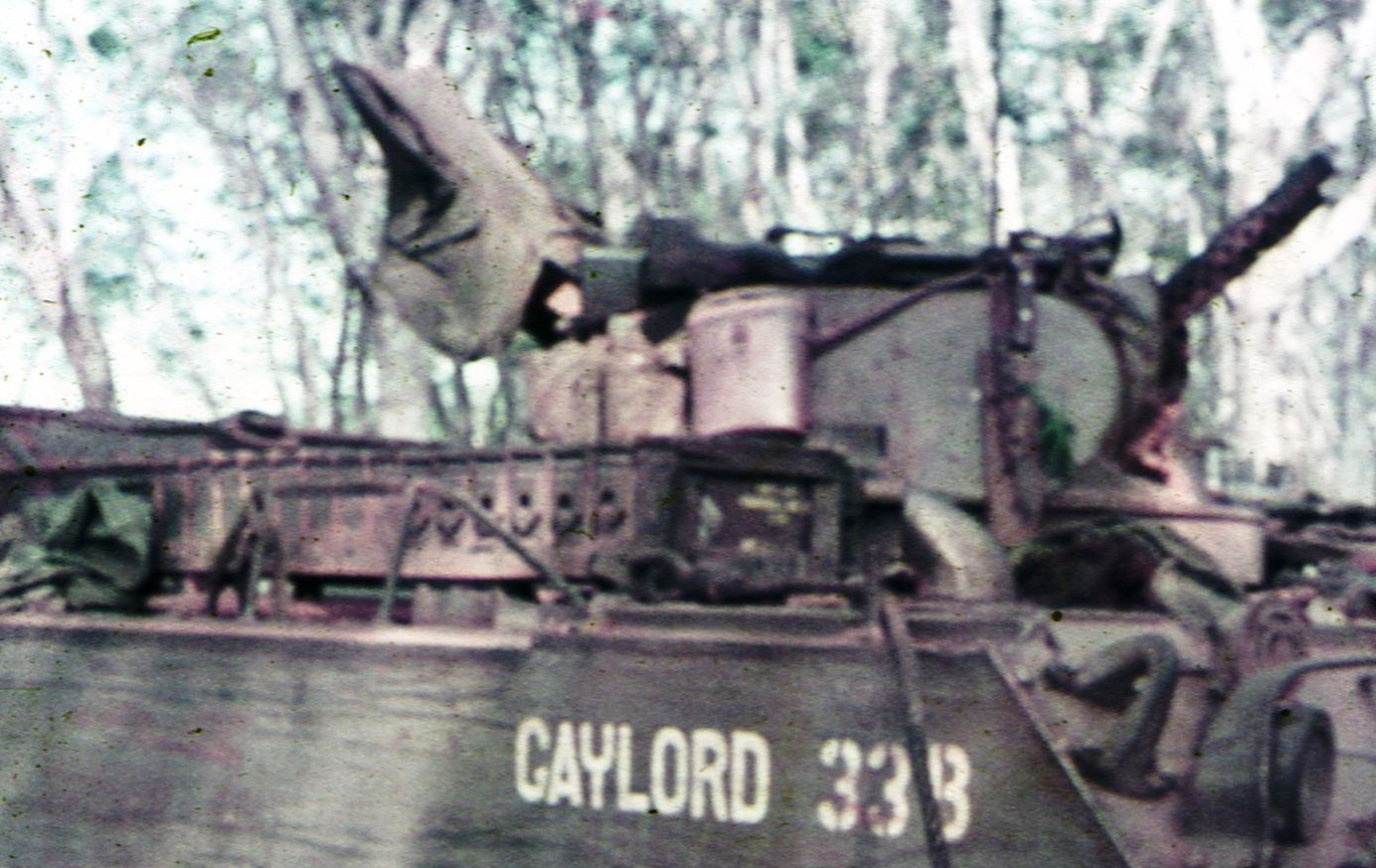 Graeme Merkels APC turret with two 30 cal machineguns on right and his flak jacket draped over the turret hatch.  Graeme would have been standing in the turret exposed to be able to fire his weapon [G Merkel]
