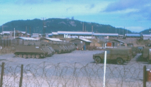 'sexy' photo of Composite Ordnance Depot Vung Tau armoured & other spare vehicles park [Philp] (sexy as in all other COD facilities were warehouses)