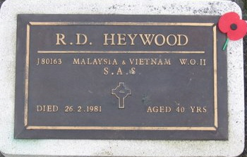 Dave Heywood's plaque in the ashes section of the Papakura Servicemen's Cemetery [Torrance]