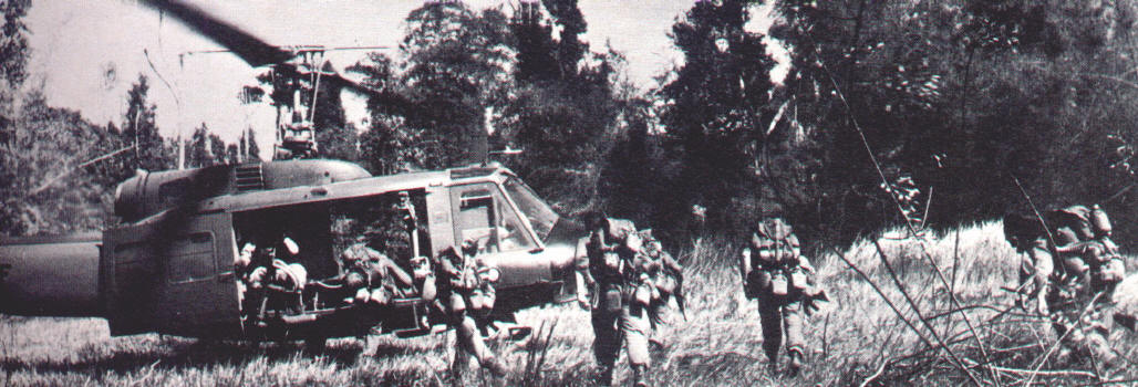 [6RAR/NZ ANZAC history] extraction end of Op Napier - Jan 1970  [helicopter flown by 9 Sqn RAAF. In five and a half years in Vietnam 9 Sqn UH-1 helicopters flew 237,000 sorties, carried over 414,000 passengers, 4,000 casevacs and 12,000 tonnes of freight. The Sqn suffered 7 aircraft destroyed or written off and 37 damaged, 23 by ground fire. 4 members of the unit were killed]