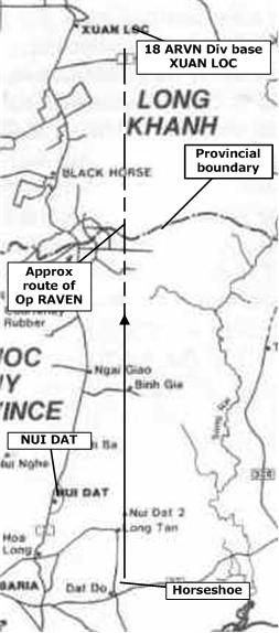 approximate route of Op RAVEN [see Op Order for more accurate references] Young