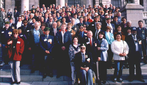 Parade 98 - Vietnam Remembered photo of W3 personnel & families on the steps of Parliament Wellington.  This was the only time Vietnam veterans were ever formally able to parade in New Zealand