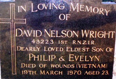 headstone Pte David Wright RNZIR at St Marys Church Esk Valley South Canterbury